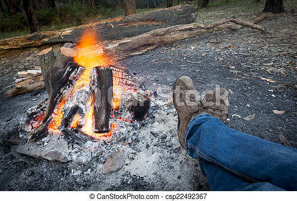 piedi, falò, warming - csp22492367