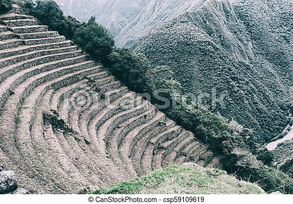 Antiguas Terrazas De Cultivo De Piedras Incas Camino Inca