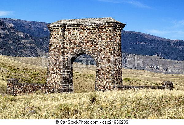 piedra, arco, parque, entrada, yellowstone, nacional - csp21966203