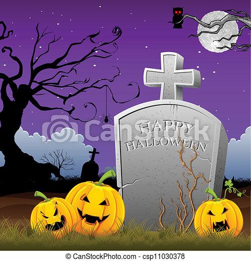 Pumpkin alrededor de la piedra de la tumba - csp11030378