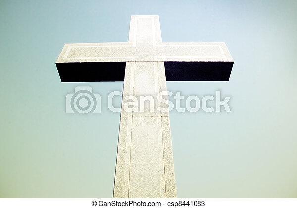 piedra, cielo, cruz, plano de fondo - csp8441083