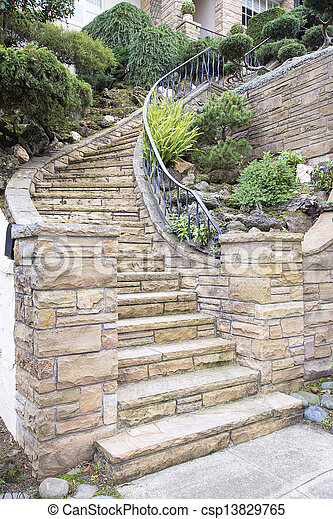Piedra, escalera, exterior, fachada, hogar, chapa. Faccade ...