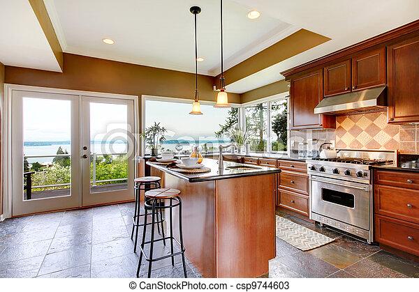 Piedra floor paredes verde lujo interior cocina - Cocina verde agua ...