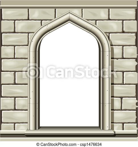 Una ventana arqueada, piedra - csp1476634