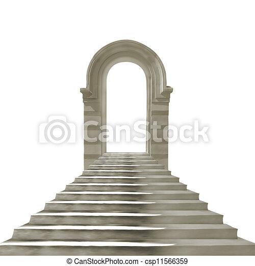 Un viejo arco de piedra con escaleras de hormigón aisladas de fondo blanco - csp11566359