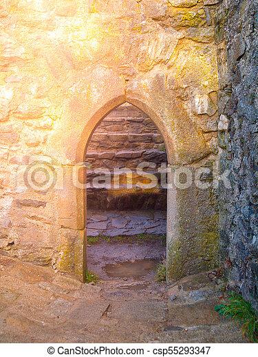 piedra, viejo, medieval, ruina, arco, gótico, puerta, castillo - csp55293347
