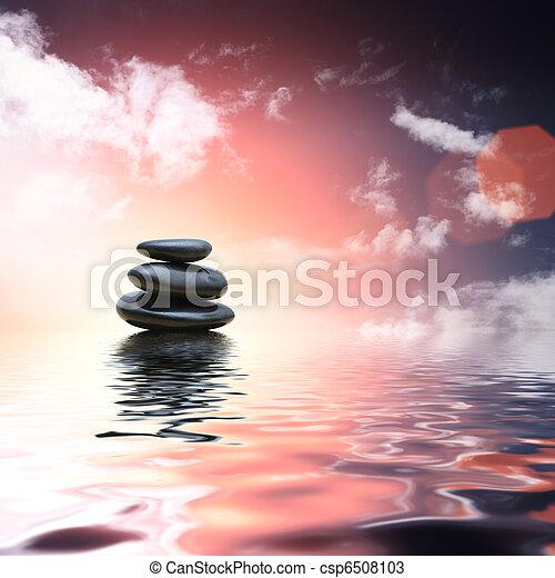 Piedras Zen reflejando en el fondo del agua - csp6508103