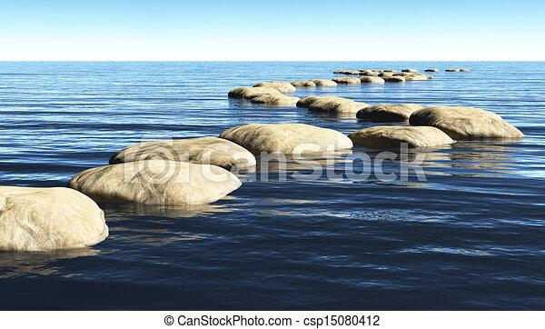 piedras, agua, trayectoria - csp15080412