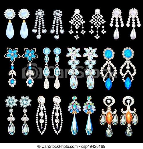 5d8175b9930a piedras, conjunto, joyas, ilustración, pendientes, precioso