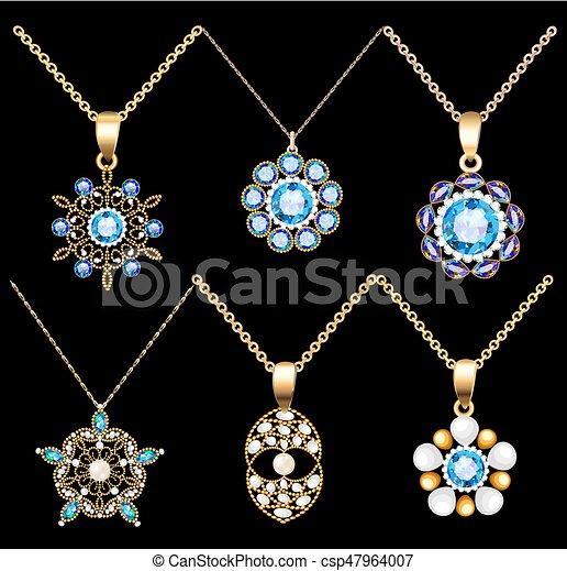 41443b2a6f08 piedras, cuentas, conjunto, joyas, oro, color, vendimia, ornamento,  colgantes, ilustración, hecho, perlas, precioso