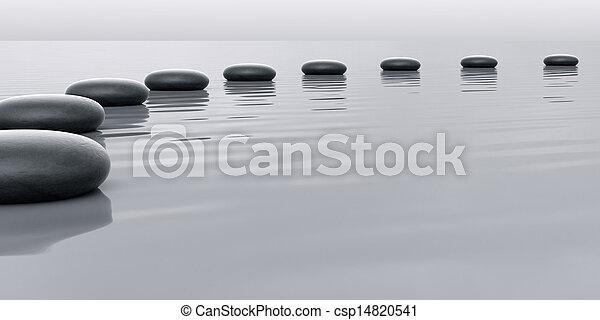 Fila de piedras que conducen al horizonte - csp14820541