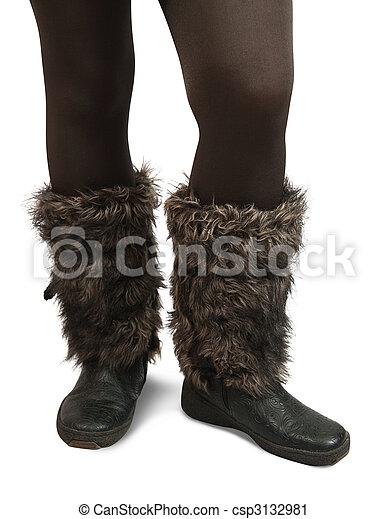 pieds femme fourrure bottes hivernal femme fourrure photographie de stock rechercher. Black Bedroom Furniture Sets. Home Design Ideas