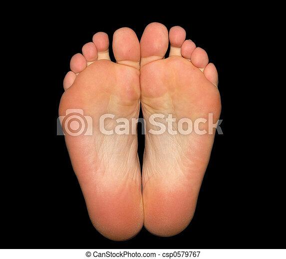 pieds, noir, isolé, fond - csp0579767