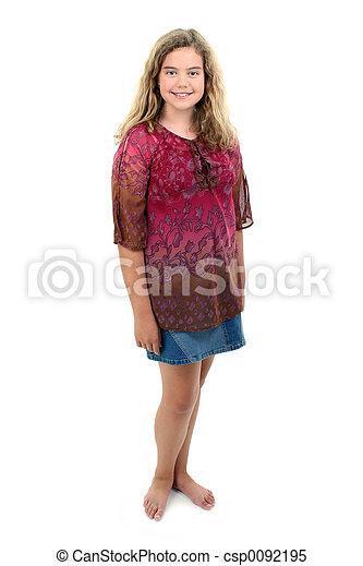 pieds nue, girl, 12, vieux, année - csp0092195
