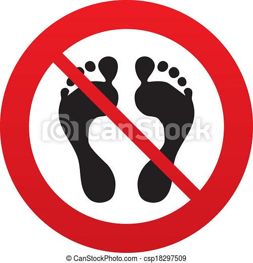pieds nue, non, symbole., signe, humain, empreinte, icon. - csp18297509