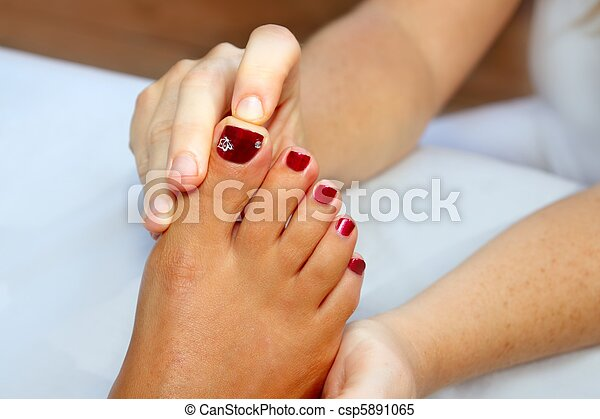 pieds, reflexology, femme, thérapie, masage - csp5891065