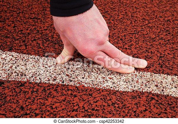 piegato, retrack, dita, gomma, avvii linea, rosso - csp42253342