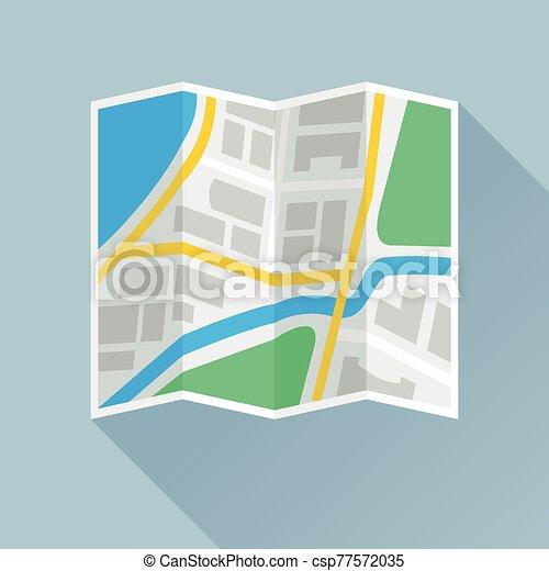 piegatura, appartamento, carta, mappa, icona - csp77572035