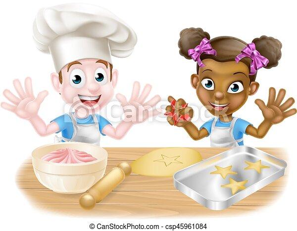 Piekarze Gotowanie Rysunek Dzieci Chłopiec Ciasto Wypiek