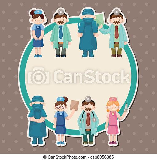 pielęgnować, rysunek, karta, doktor - csp8056085