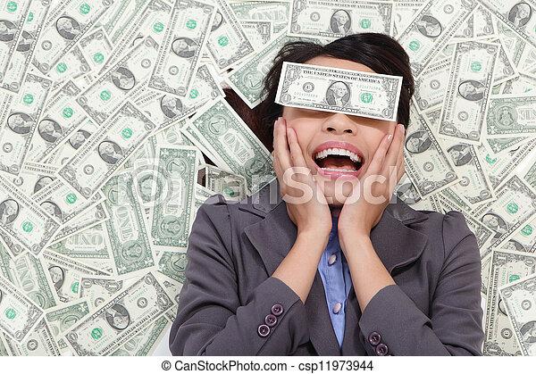 pieniądze, leżący, kobieta, podniecony, handlowy - csp11973944