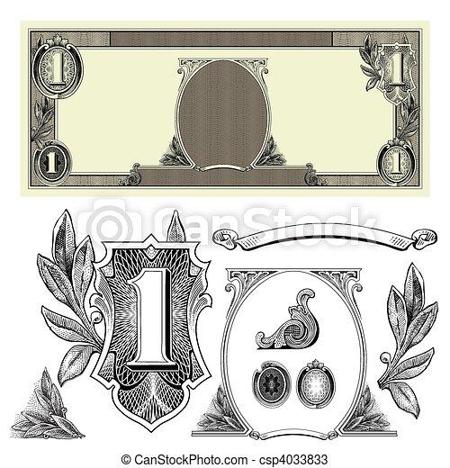 pieniądze, wektor, elementy - csp4033833
