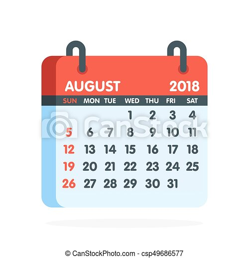 Calendario Mese Agosto.Pieno Agosto Illustrazione Mese Year Vettore 2018 Calendario Icon