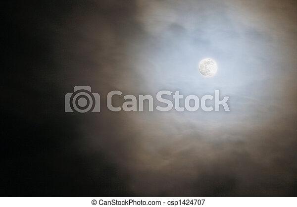 pieno, cielo, nuvoloso, luna - csp1424707