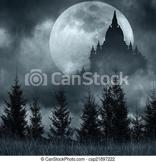 pieno, silhouette, sopra, luna, notte, misterioso, magia, castello - csp21897222