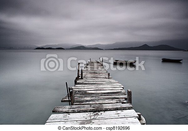 pier and boat, low saturation - csp8192696