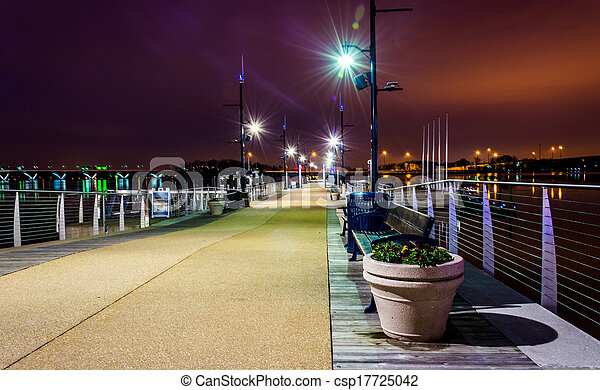 Pier at night, in National Harbor, Maryland.  - csp17725042