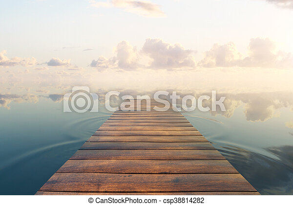Pier on sky background - csp38814282