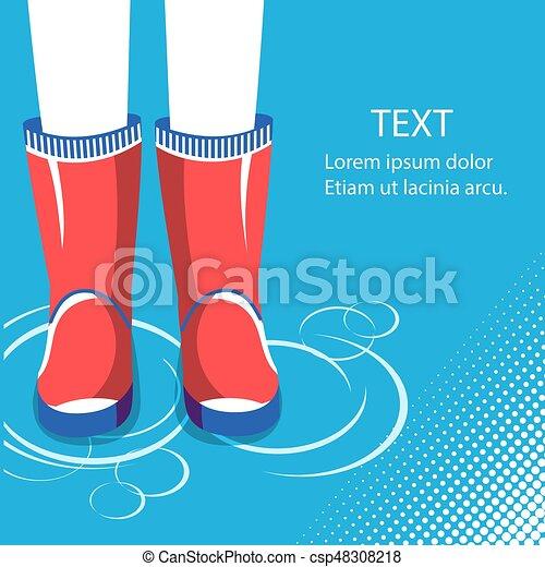 Antecedentes de lluvia. Piernas humanas con botas de goma rojas - csp48308218