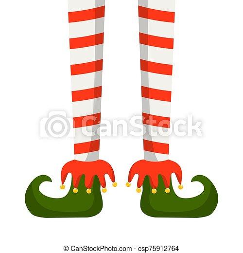 piernas, duende, medias de navidad, rayado - csp75912764
