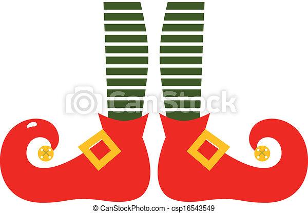 Las piernas del elfo de caricatura navideñas aisladas en blanco - csp16543549