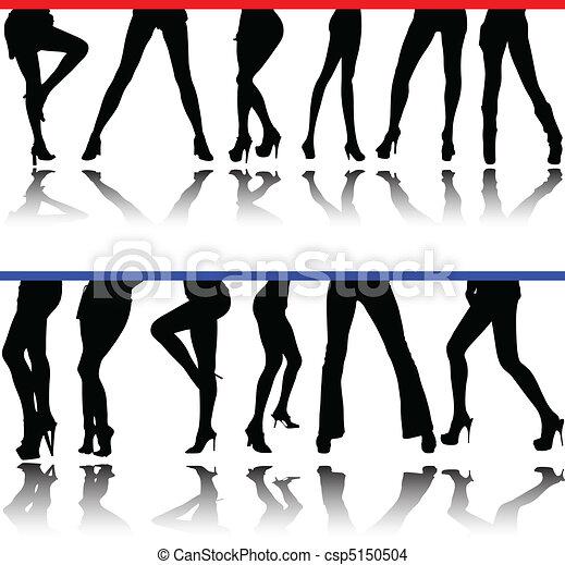 Las piernas de la mujer vencen siluetas - csp5150504