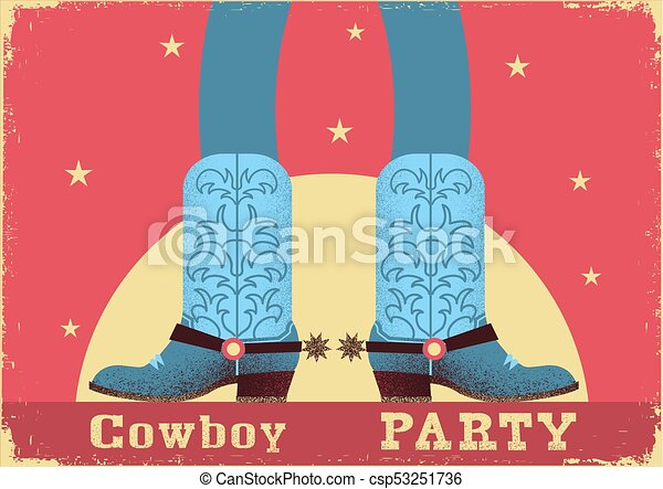 Trasfondo de tarjeta vaquero con piernas de vaquero en botas occidentales - csp53251736