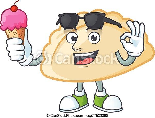 Pierogi mascot cartoon design with ice cream - csp77533390