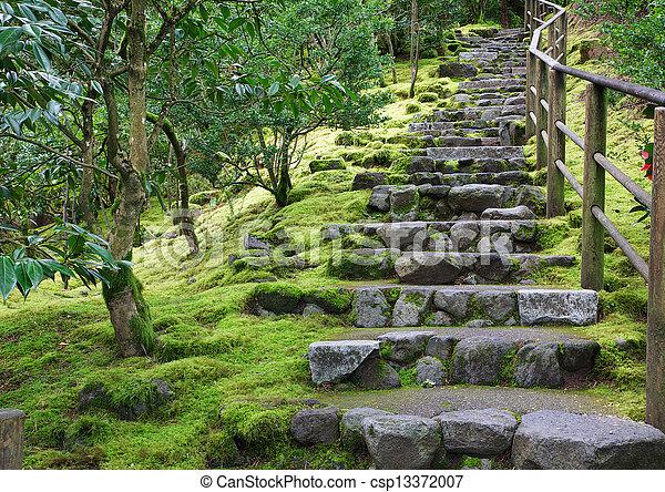 Pierre, asiatique, escalier, jardin. Jardin pierre ...