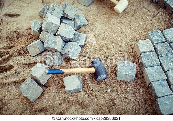 pierre, extérieur, sable, pose, blocs, details., pavé, trottoir, construction, terrasse, outils - csp29388821
