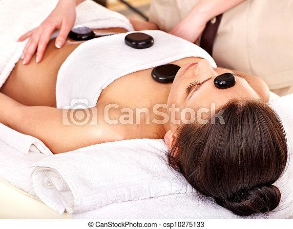 pierre, femme, thérapie, masage, obtenir - csp10275133