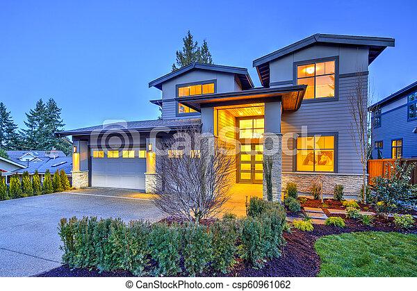 pierre, gris, maison, moderne, histoire, deux, luxe, extérieur, grand, colonnes - csp60961062