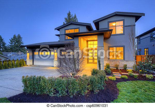 pierre, gris, maison, moderne, histoire, deux, luxe, extérieur, grand, colonnes - csp60961031