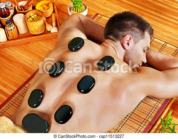 pierre, homme, thérapie, masage, obtenir - csp11513227