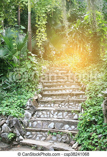 Pierre, naturel, jardin, éclater, lumière, landscaping, escalier.