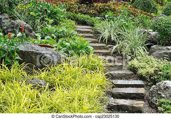 Pierre, naturel, jardin, landscaping, maison, escalier.