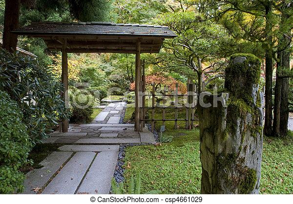 pierre, porte jardin, japonaise