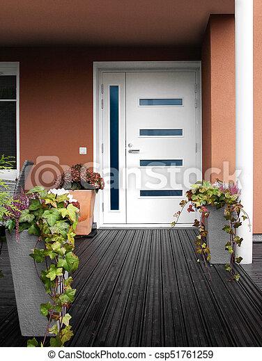 pierre, porte, maison, moderne, entrée, blanc