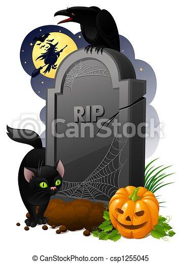 Pierre tombale corneille citrouille illustration sorci re noir halloween chat - Pierre tombale dessin ...