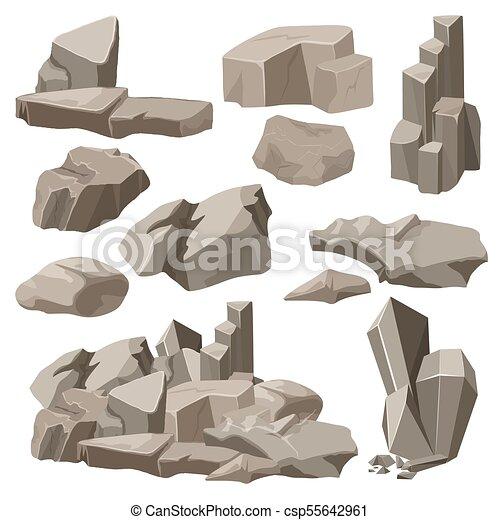 pierres, éléments, illustration., set., collection, rochers, vecteur - csp55642961